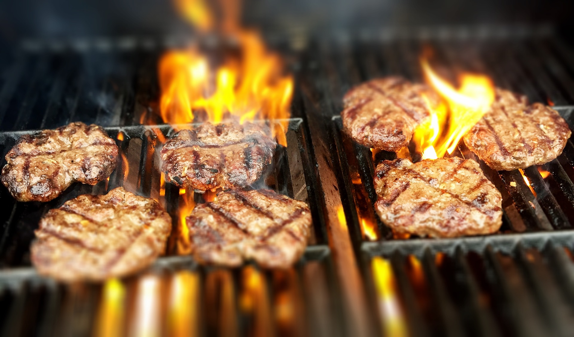 burgers on grill for family cookout